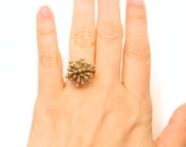 Single Starburst Ring (3D printed Steel, Gold, Bronze)