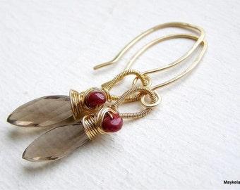 Smoky Quartz Earrings , Natural Ruby Earrings , Gold Gemstone Earrings , Birthstone Earrings