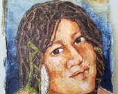 Original Painting NAVAJO Native Amerrican Maiden ZEN Inspired Watercolor On Tissue Lynne French FREE Shipping