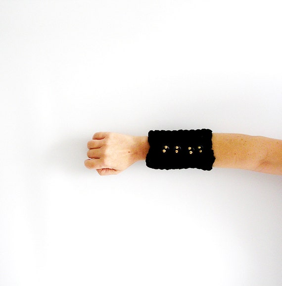 Black Crochet Bracelet with Studs Black Large Cuff Wristlet