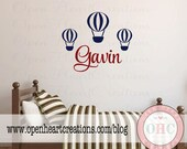 Parachute Wall Decals with Boy or Girl Name Monogram - Personalized Vinyl Decal for Baby Nursery Playroom or Bedroom 27H x 32W FN0538