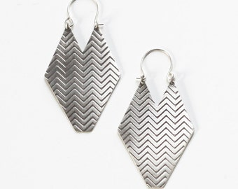 """Geometric sterling silver earrings with embossed chevron pattern oxidized to bring out detail and show contrast - """"Chevron Earrings - Large"""""""
