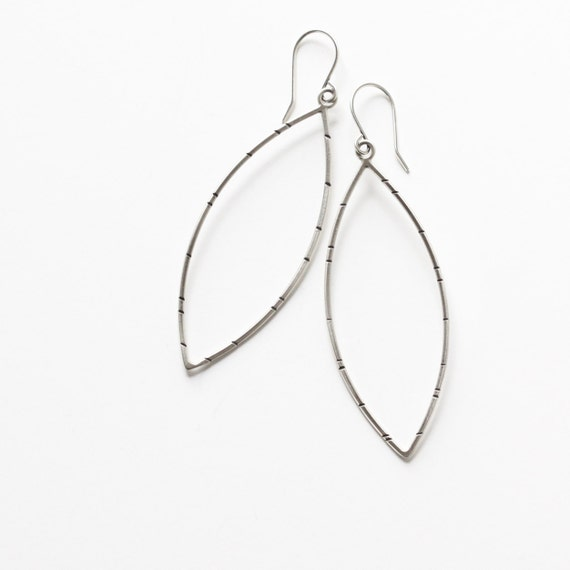 """Striking sterling chisel silver earrings handcrafted in a large leaf shape and oxidized to a modern matte finish - """"Acuminate Earrings"""""""