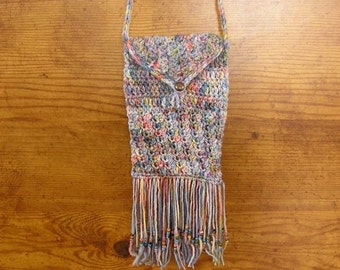 "Smart Phone bag, pastel hand crochet cell phone bag with brass button,  6"" x 4 1/4"", a 24""  strap and beaded fringe, handmade in USA"