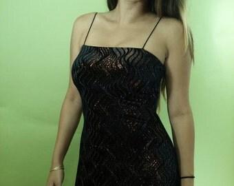 Vintage BLACK METALLIC Velvet Dress / Form Fitting Body Con Dress / Cocktail Party Dress / Womens Small