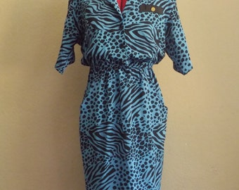 80s Blue ANIMAL Print Dress • Vintage Leopard and Zebra Print Dress •