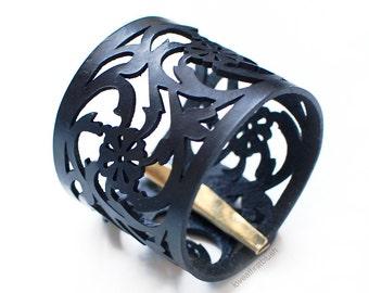 Rose Lace Bracelet Leather Cuff