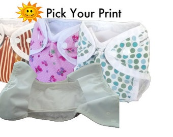 Pick a print Newborn Cloth Diaper or Cloth Diaper Cover for Baby, AI2 cloth diaper, All in Two Cloth Diaper for Baby