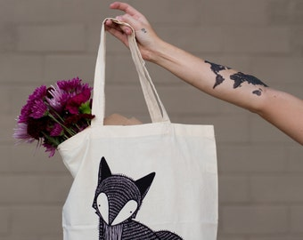 Fox Tote Bag, Woodland Tote Bag, Farmer's Market Fox Bag, Fox Grocery Bag, Fox Gift Bag, Fox Cloth Bag, Gift For Her