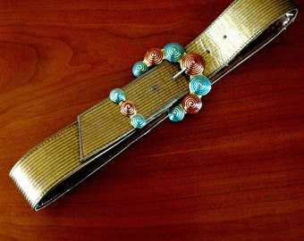 Vintage Belt Designer Linda Waldorf I B Diffusion Red Turquoise Gold Metal Buckle Gold Belt Small 1980s