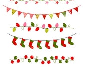 Bunting banner Christmas ,Flag Banner,christmas,christmas bunting,Christmas Border clip art ,instant download clip art