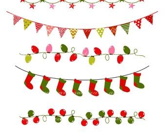 Bunting Banner Christmas clip Art,Flag Banner,christmas,christmas bunting,Christmas Border clip art ,instant download clip art