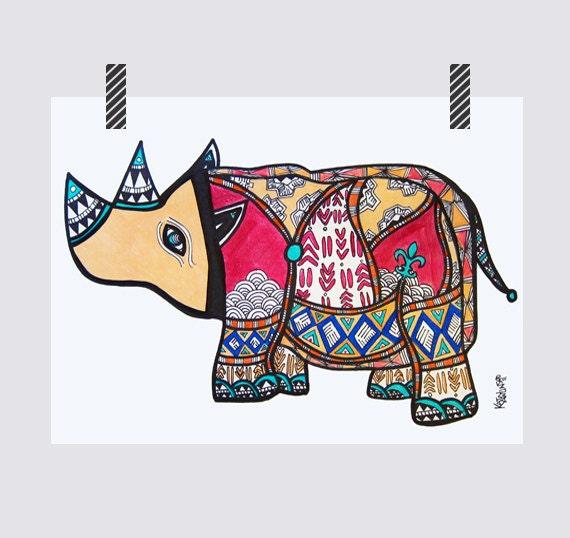 Fleur de Rhino (one of a kind drawing)