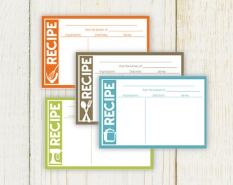 Modern Kitchen Theme Recipe Cards 4x6 Typeable pdf - Instant Download -  No 822
