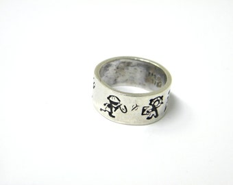 Sterling silver ring, wide band ring, signed ring, children world ring, retro tribal ethnic, we are the world,  children of the world