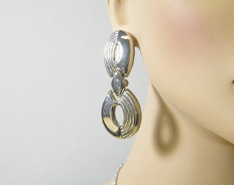 Vintage Silver Dangle Earrings, Hinged Ovals, Hippie, Boho, Gypsy, Geometric Ovals, Post Style,  SilverStonesConcepts