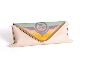 Leather Envelope Clutch Southwestern Inspired Printed Thunderbird Symbol in Teal Peach Coral and Yellow
