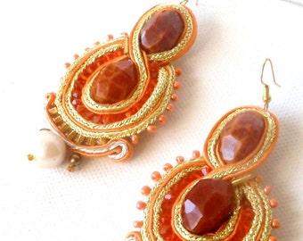 Infinity statement earrings , gold orange jewelry , chandelier boho chic earrings , extra large earrings , crab fire agate jewelry
