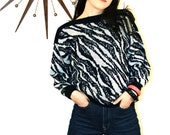 Zebra Stripe Sweater Vintage 80s New Wave Black and White Striped Geometric Animal Print Long Sleeve Totally 1980s Knit Cropped Jumper