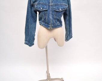 vintage denim jacket jean jacket cropped 1980s early 1990s 80s 90s womens