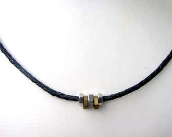 Cool Mens Necklace. Leather Cord Necklace. Industrial Hex Nut Jewelry. Mixed Metal Jewelry. Gift For Him and Her