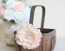 Rustic Flower Girl Basket Lace Rhinestones by Morgann Hill Designs SMALL