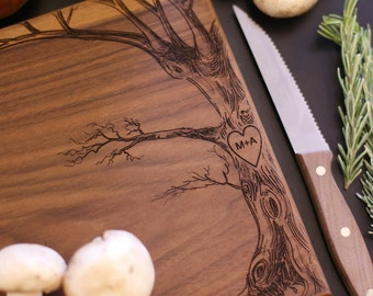 Personalized Cutting Board Christmas Gift Bridal Shower Gift Wedding Gift Engraved Love Tree With Initials (Item Number MHD20013)