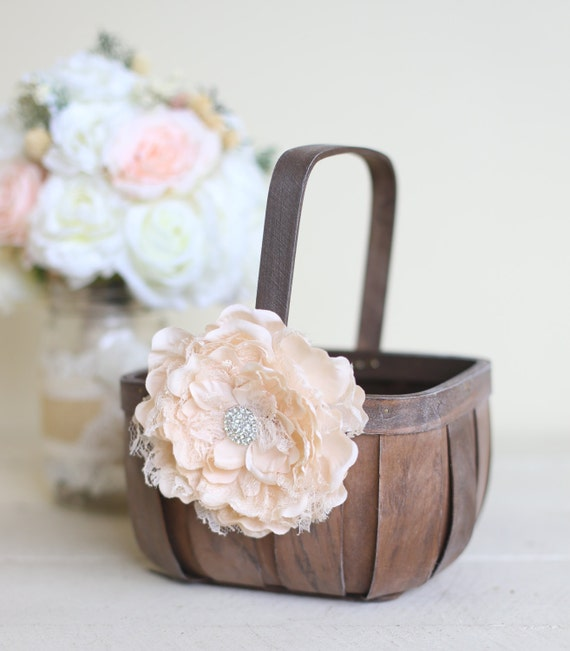 Flower Girl Baskets Small : Items similar to rustic flower girl basket lace
