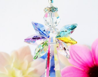 Rainbow Guardian Angel Car Rear View Mirror Charm Swarovski Crystal Car Accessories Rearview Mirror