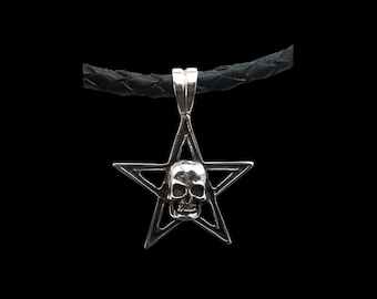 925 Sterling Silver Pentagram Skull Pendant w/ italian black braided leather necklace
