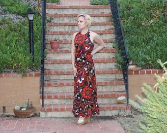 Vintage 70s Black Red White Abstract Tribal Halter Top Maxi Dress  - Sandine Originals New York  - Size Small / Medium