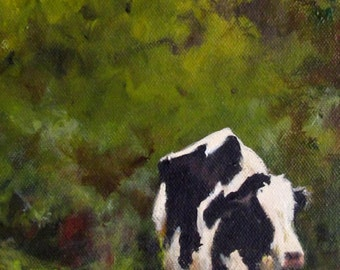 Cow Painting - Nowhere Fast - Print of an Original Painting on stretched canvas - 6x18