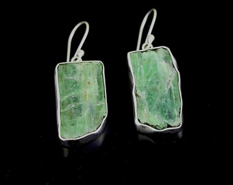 Sterling Silver Raw Green Kyanite Earrings