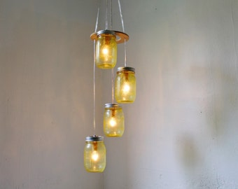 Sun Yellow Mason Jar Chandelier - Upcycled Hanging Lighting Fixture Featuring 4 Spiraling Jars - Rustic BootsNGus Modern Country Lamp Design