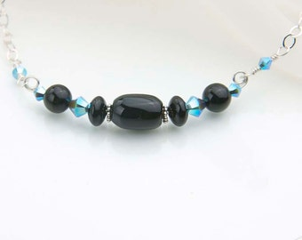 Black Onyx Necklace with Turquoise Crystals- Sterling Silver Choker Necklace