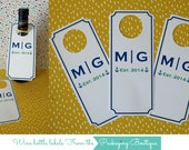 """Qty 24  Custom Design - bottle neck tags - 2.7"""" X 6.5""""  - for hanging on a wine bottle - custom - wishing well - door hanger - table number"""