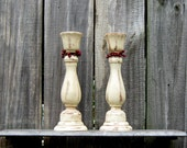 Taper Candle Holders, Candle Sticks, Pair, Set of Two, Rustic, Ivory, Distressed, Choose Berry Color, Painted, Home Decor, Primitive Decor