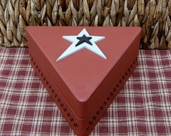 Wood Box, Painted Box, Triangle Box, Primitive Decor, Rustic, Trinket Box, Jewelry Box, Hinged Box, Barn Red, Gray Star, Black Checks