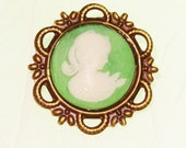 Small Green and White Portrait Cameo Brooch in Brass Setting