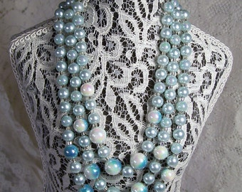 1950's Vintage Shades of Blue Beaded Necklace, 3 Strand Bead Necklace, Bridal Estate Retro Jewelry, Something Old and Blue