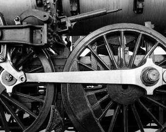 Locomotive Photo, Vintage Train Photo Engine Photography Black White For Guys Man Cave Gift For Men Masculine vin1