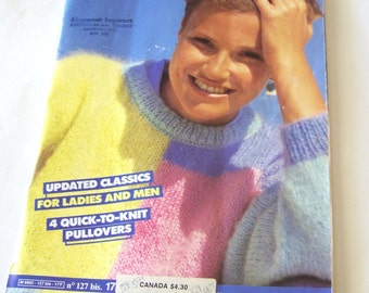 Vintage Phildar Sweater Knitting Patterns Book 127 from 1980s