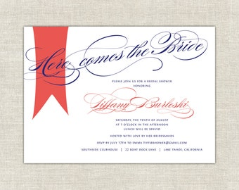 Coral & Navy Blue Here Comes the Bride Bridal Shower Invitations Thank You Notes Hang Tags Shower Invites Invitation Flag Ribbon Banner
