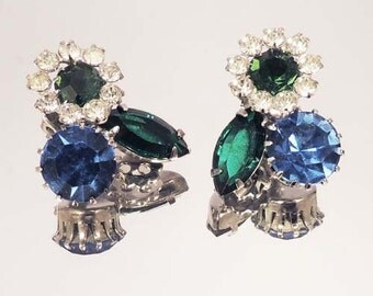 Exquisite Blue Green Crystal Rhinestone Floral Earrings Vintage