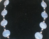 Vintage Necklace Agate Lead Crystal Shades Of Blue And White Varigated Agates Faceted Crystal An Silver Beads Elegant Gift Modern Statement