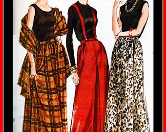 """UNCUT Vintage Sewing Pattern McCall's 7060 - """"easy to sew"""" - Beautiful Ladies  Long Skirt Set , Evening Stole & Suspenders - Waist 26"""