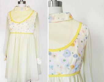 Vintage 1970s Chiffon Yellow Floral Babydoll Dress sz Small