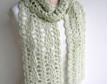 Lacy Scarf Pale Green Crochet