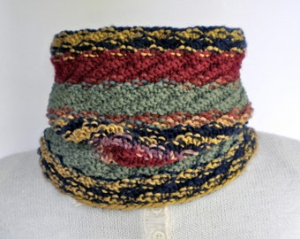 Cowl Neckwarmer Knit Multicolor Fall Stripes