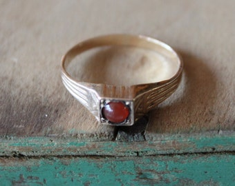 Art Deco Carnelian Ring / Size 9